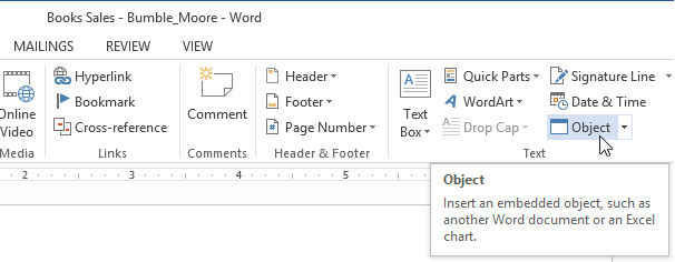 Word 2013 embedding an excel chart screenshot of word 2013 ccuart Images