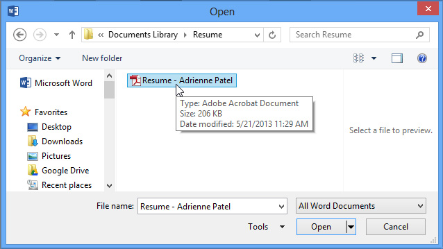 Word 2013: Editing PDF Files - Full Page