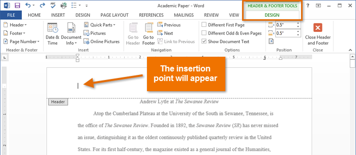 Word 2013: Headers, Footers, and Page Numbers Print Page