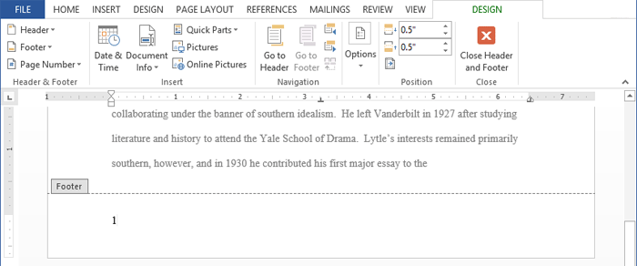 Word 2013 headers footers and page numbers page numbering will appear screenshot of word 2013 ccuart Gallery