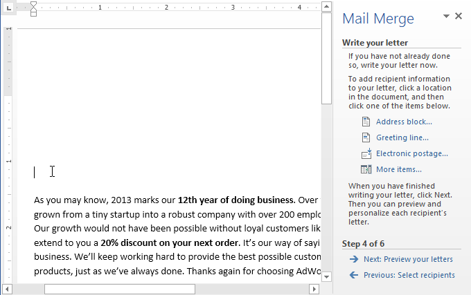 Word 2013 mail merge full page screenshot of word 2013 m4hsunfo Gallery