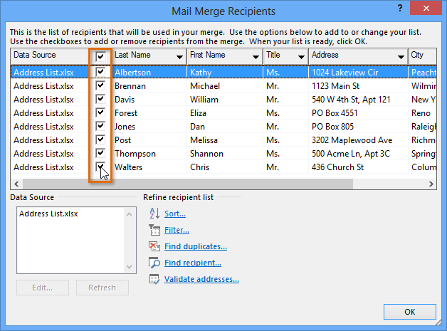 Mail Merge Word 2013