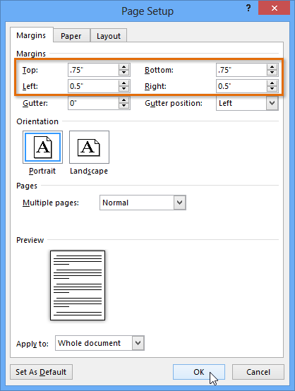 word 2013 page layout