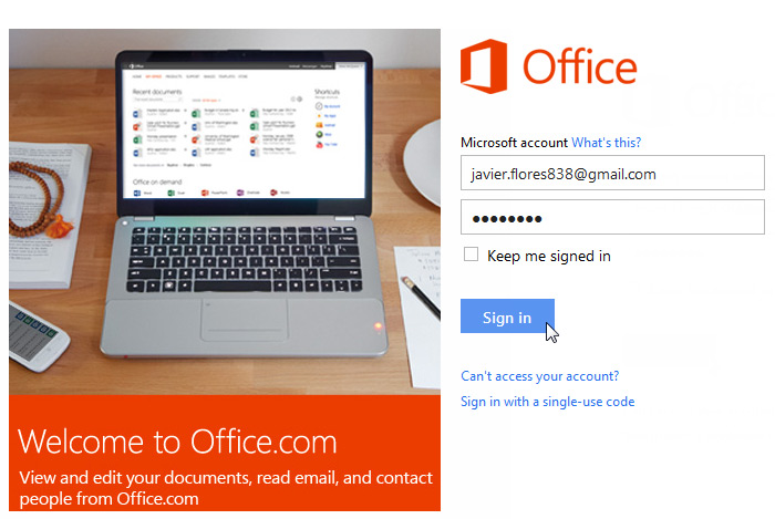 Screenshot of Office.com