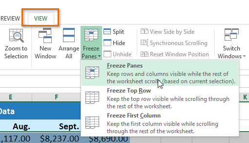 screenshot of excel 2013 clicking freeze panes