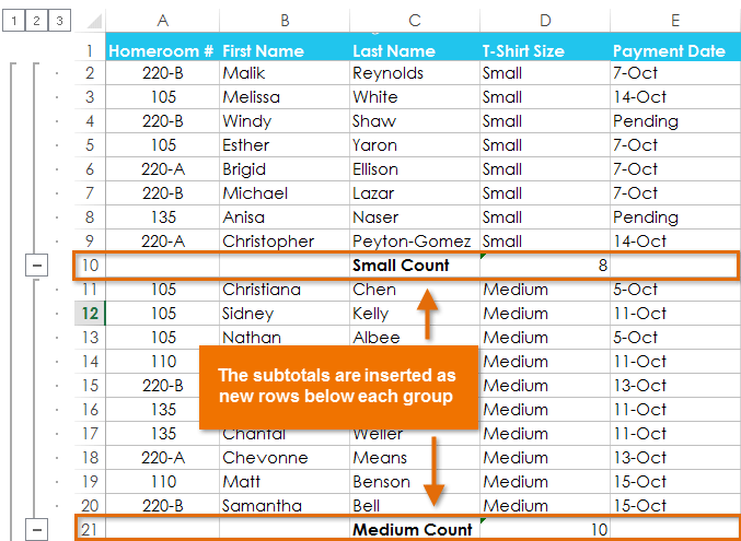 how to find subtotal in excel 2010