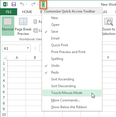 Excel 2013: Excel 2013: Enabling Touch Mode - Full Page