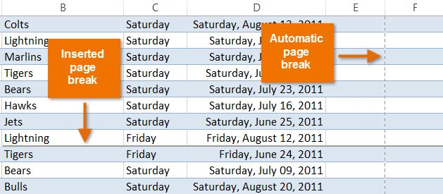 how to insert page break in excel between rows