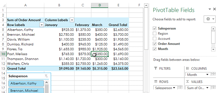 Screenshot of Excel 2013