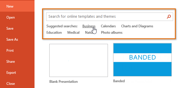 powerpoint 2013: creating and opening presentations - full page, Modern powerpoint