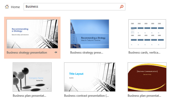 powerpoint 2013: creating and opening presentations - full page, Presentation templates