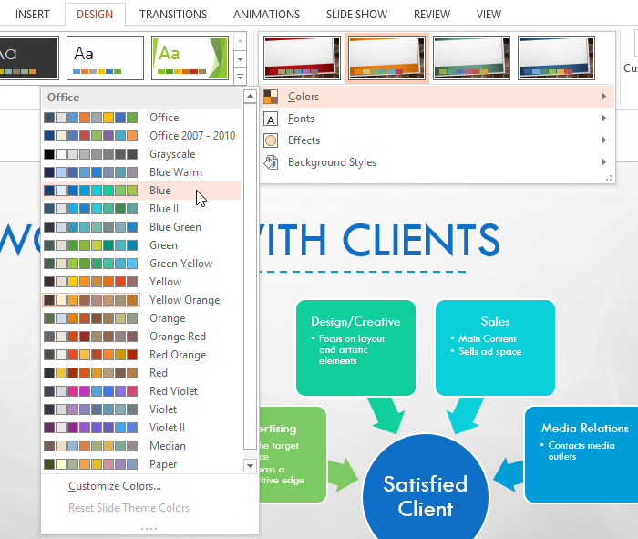 powerpoint 2013: modifying themes - full page, Modern powerpoint