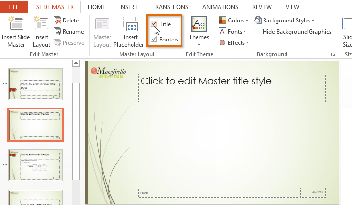 Powerpoint 2013 slide master view screenshot of powerpoint 2013 toneelgroepblik