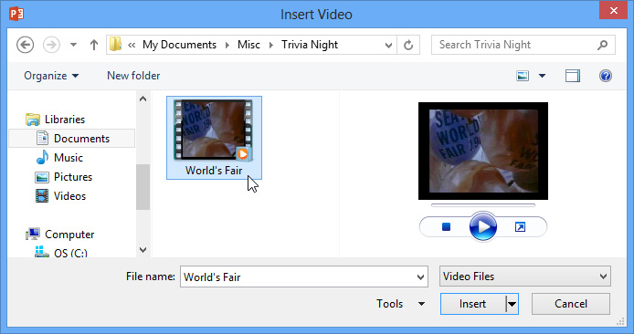 PowerPoint 2013: Inserting Videos - Full Page