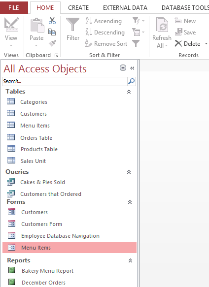Screenshot of Access 2013