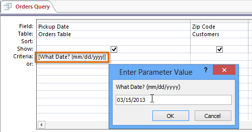 ms access wildcard in parameter query