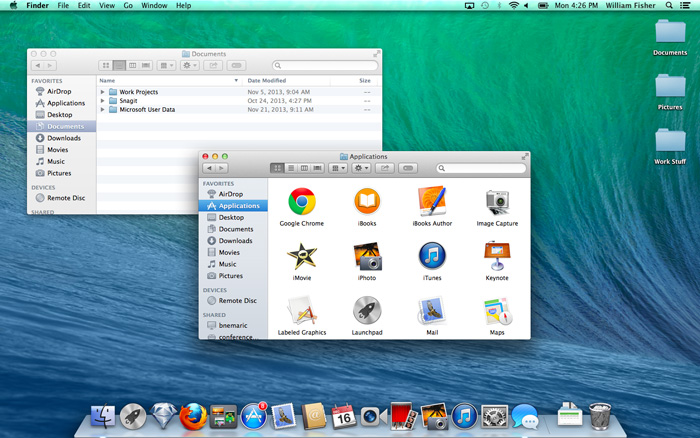 Screenshot of OS X Mavericks