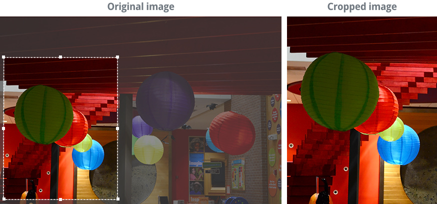 image showing a photo before and after cropping