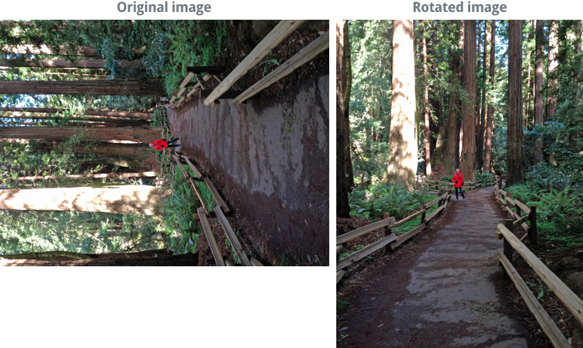 image showing a photo before and after rotating