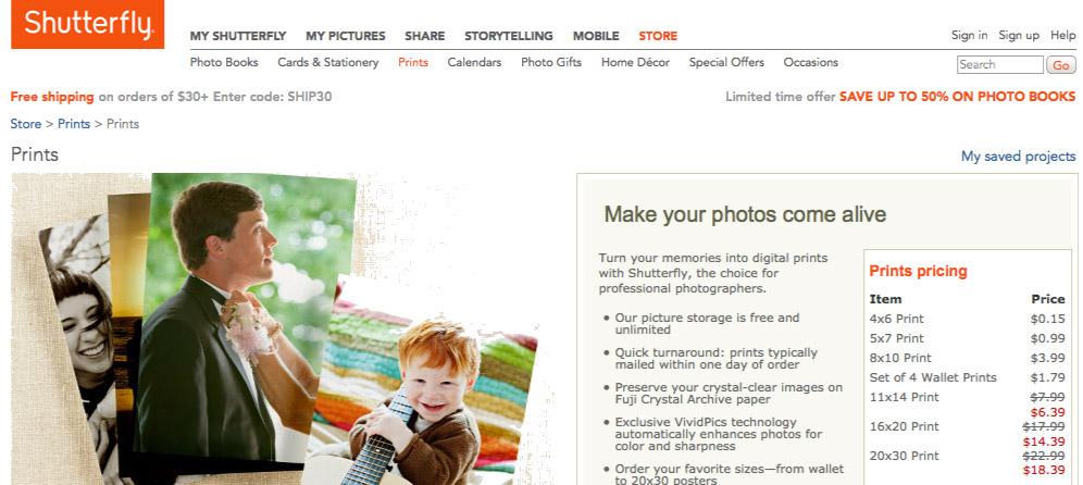 screenshot of Shutterfly.com