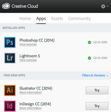 screenshot of Adobe Creative Cloud