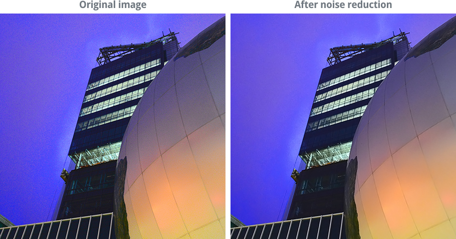 images demonstrating noise reduction