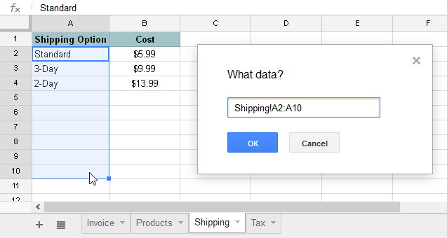 screenshot of Google Sheets