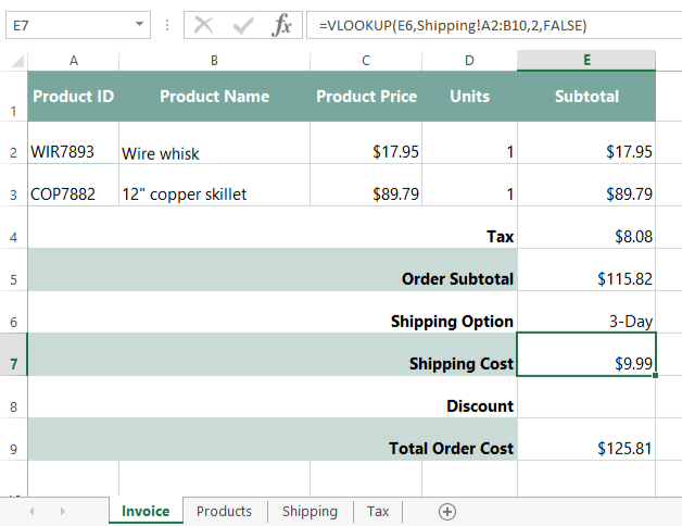 Screenshot Of Excel 2013  Invoice Shipping