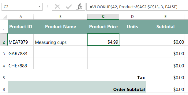 excel formulas: invoice, part 2: using vlookup - full page, Simple invoice