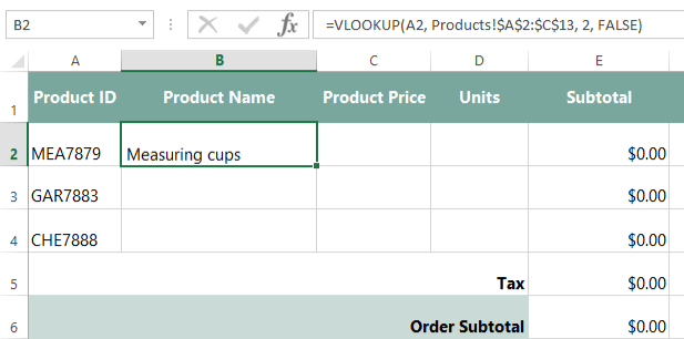 Excel Formulas: Invoice, Part 2: Using VLOOKUP