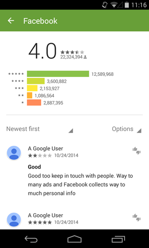 user reviews for the facebook app
