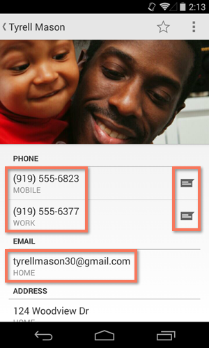 using a contact's information