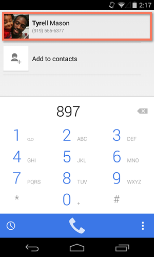 accessing a contact from the phone app