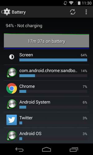 viewing battery usage stats