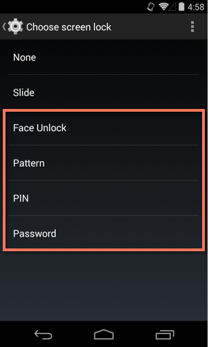 selecting a screen lock