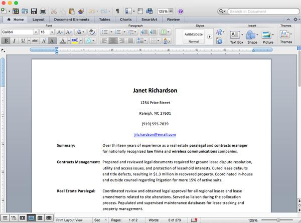 Screenshot of Microsoft Word for Mac