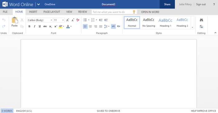 Screenshot of Office Online