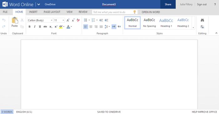 Screenshot of Office Online
