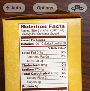 picture of a nutrition facts label