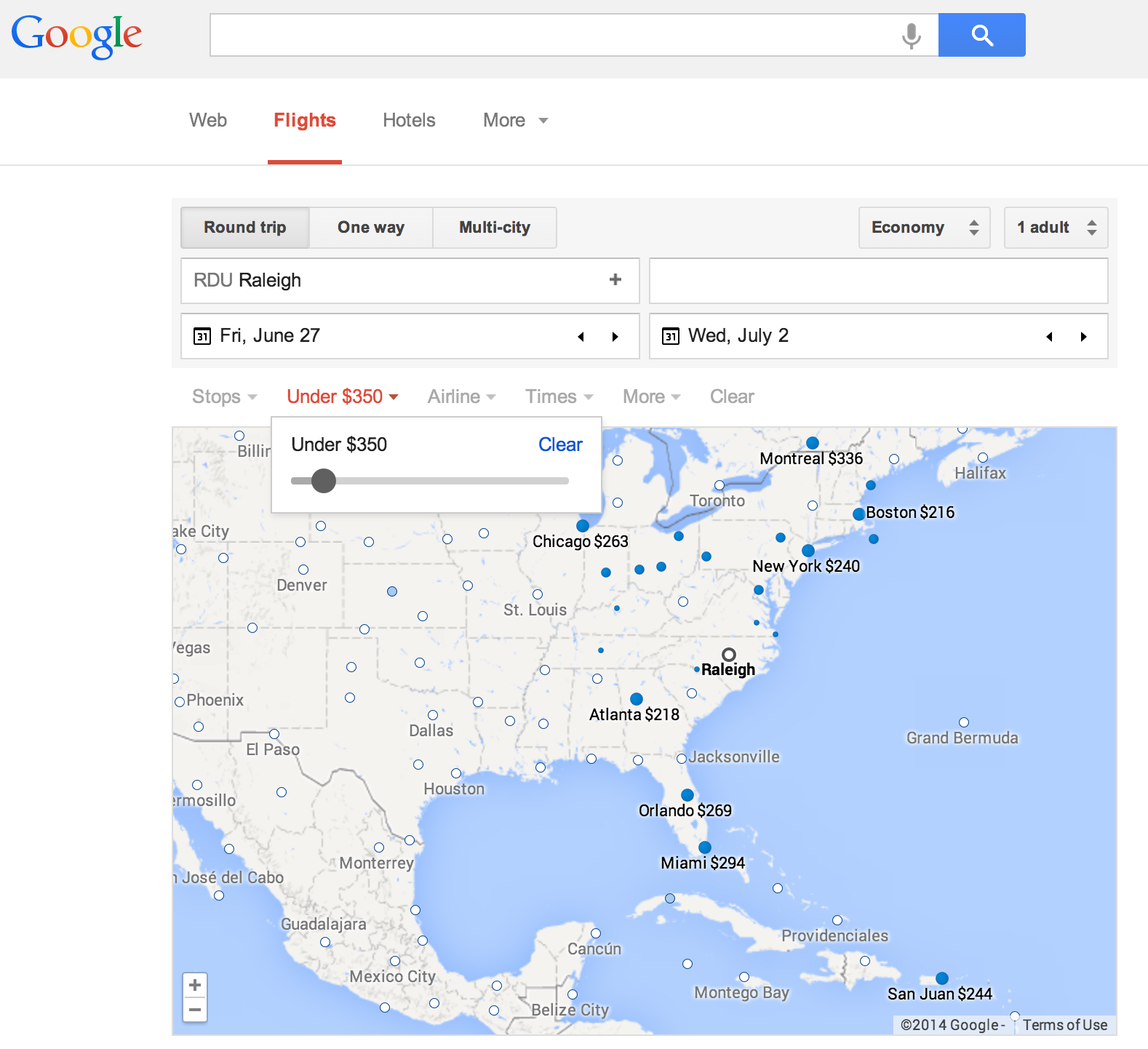 Screenshot of Google Flights