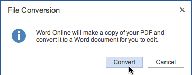selecting Convert from the Word Online dialog box
