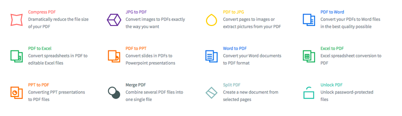 showing some of SmallPDF's online tools