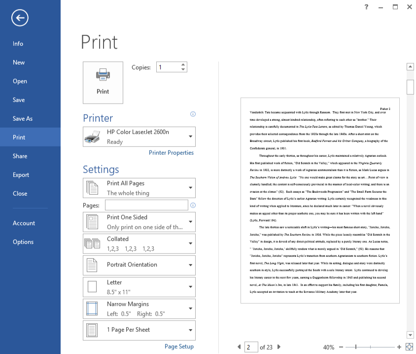 Screenshot of Microsoft Word