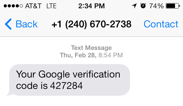 a verification code on a cell phone