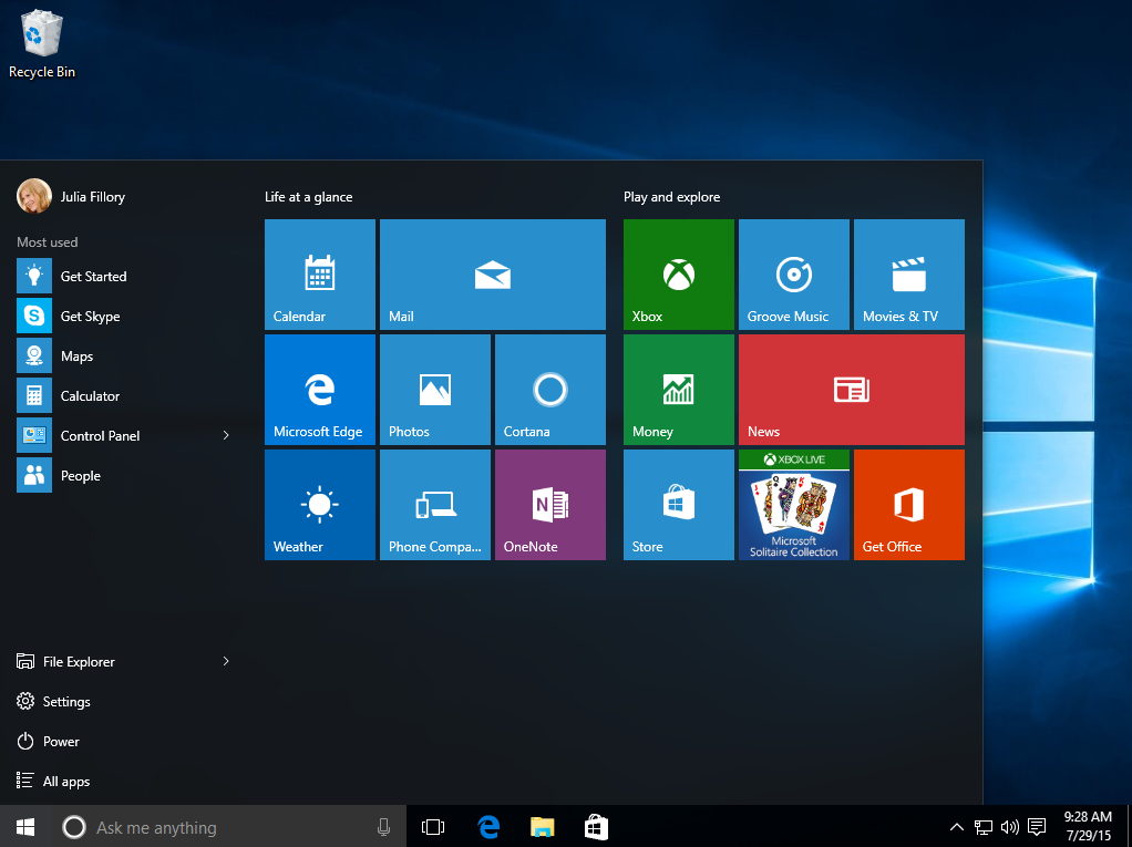 the Start menu in Windows 10