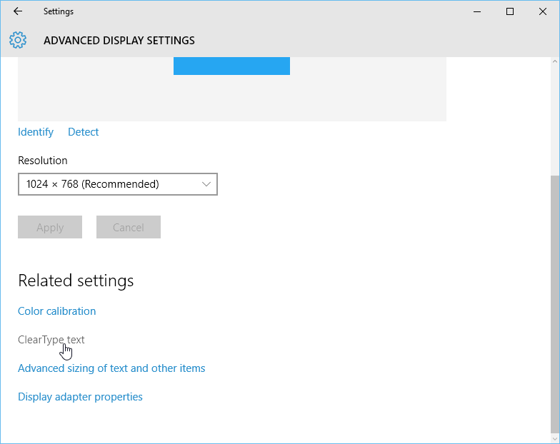 opening the ClearType settings