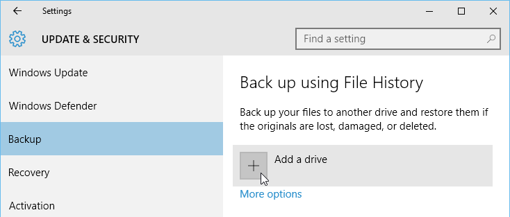 adding a drive to back up Windows files