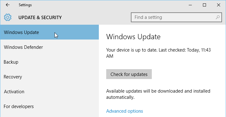 windows update preferences