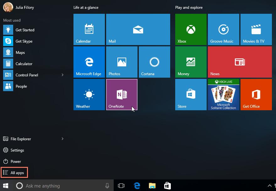 Windows 10'da bir uygulama açma