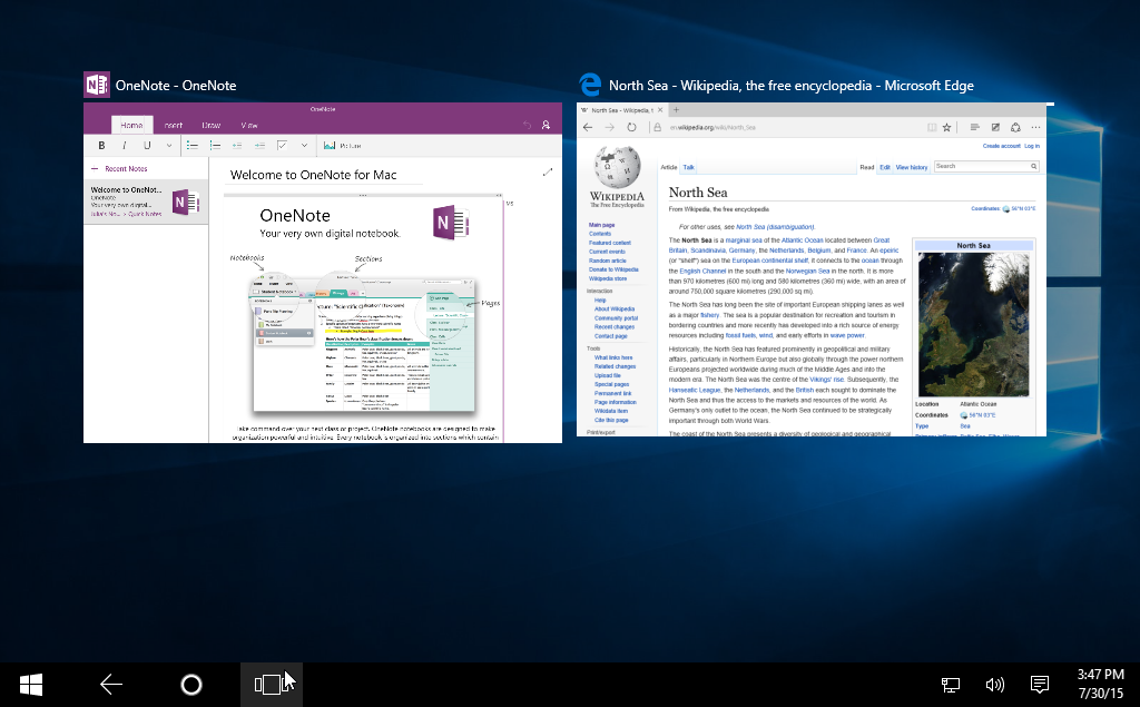 using the Task View feature on Windows 10